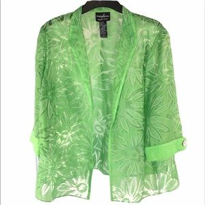 Peridot Green Etched Floral Open Blazer, size 16P